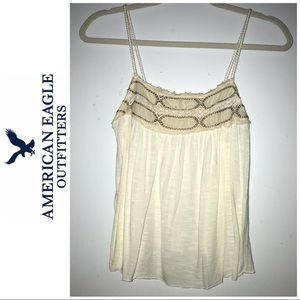 American Eagle Outfitters Tops - American Eagle Cream Embroidered Crop Tank Top XS